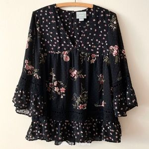 Anthropologie Maeve Floral Print 3/4 Sleeve Top